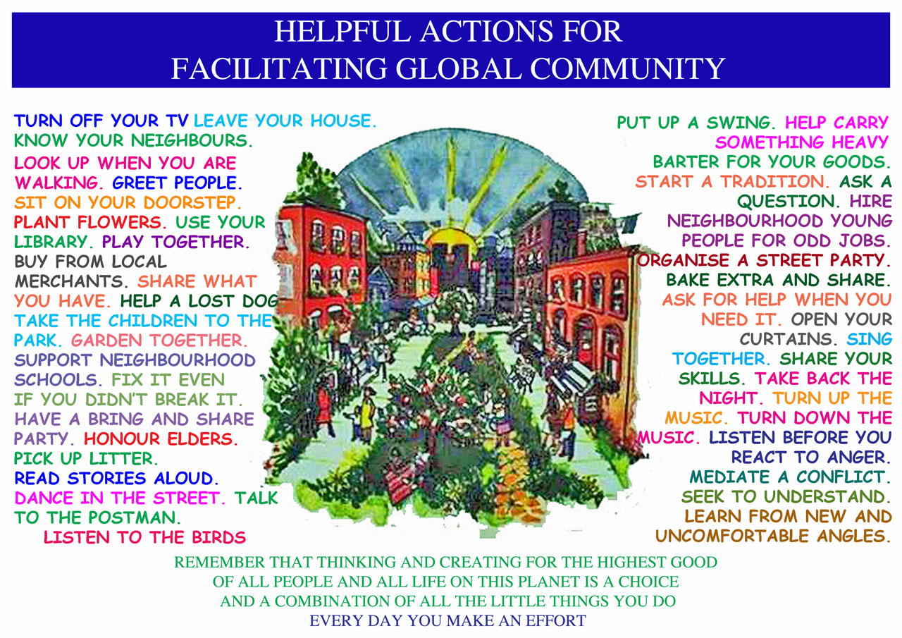 how to build community, facilitating global community, community building, for The Highest Good of All, One Community, a new way to live, a new way of living, open source world, creating world change, One Community, 40+ tips for community making, One Community