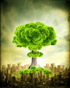 One Community, global change, green objectives, sustainability, tree mushroom cloud, dropping the green bomb
