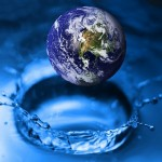 globe bouncing in water, ripple effect