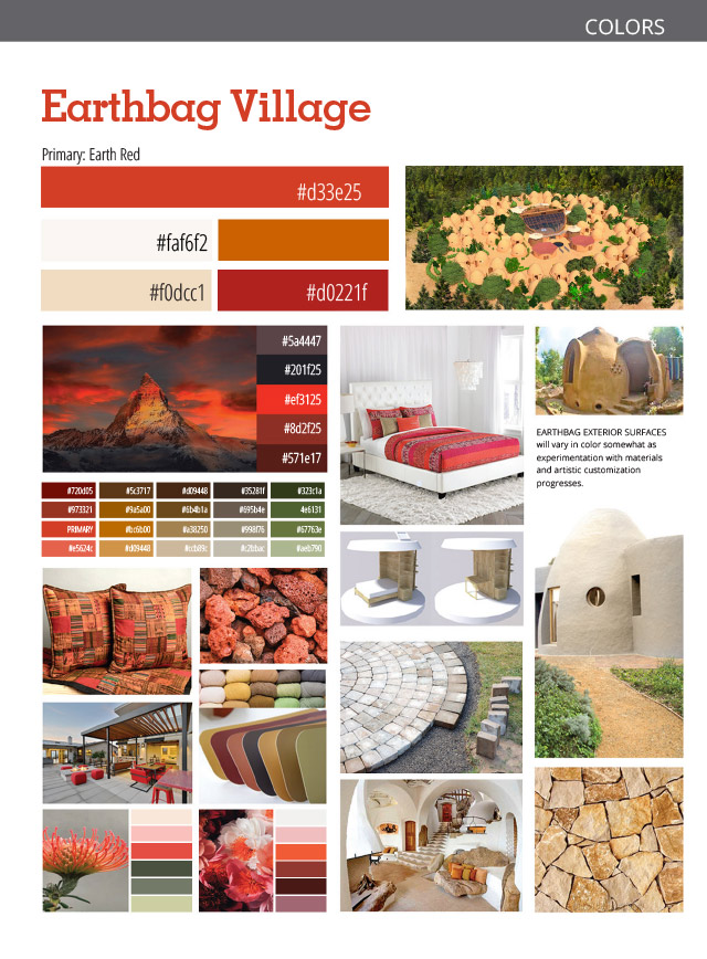 Earthbag Village Color Palette, Earthbag Village Interior and Exterior Design, color scheme, colors for pod 1, eco-community colors, root chakra colors, root chakra village, Pod 1, One Community