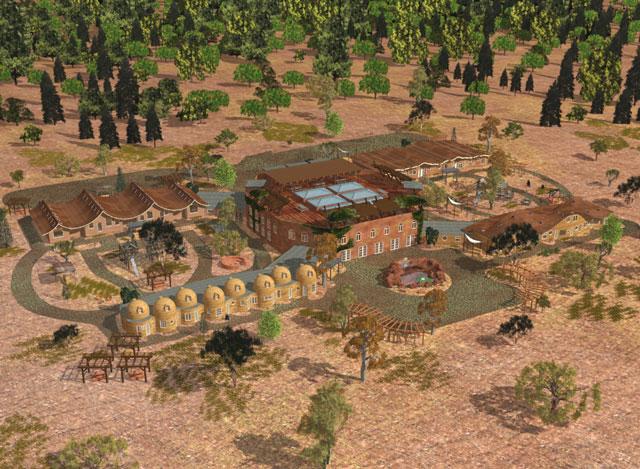 Cob Village 640 Render, Cob Village, Cob Living, Cob Construction, Cob Architecture, Cob Housing, Cob Hotel, Cob Dwelling, building with cob