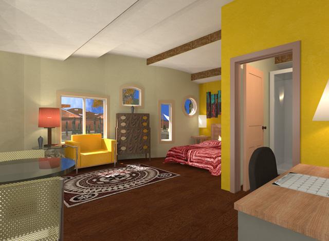 Cob Village NE Living Space Looking Southwest Final Render, Dean Scholz, One Community