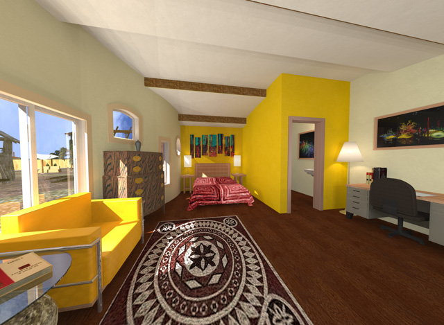 Cob Village NE Living Space Looking West Final Render, Dean Scholz, One Community