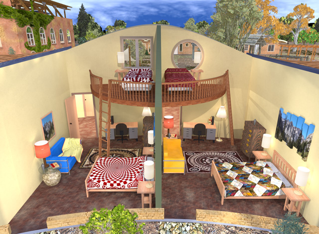 Cob Village Southeast Living Space Looking North Cutaway View, Dean Scholz, One Community