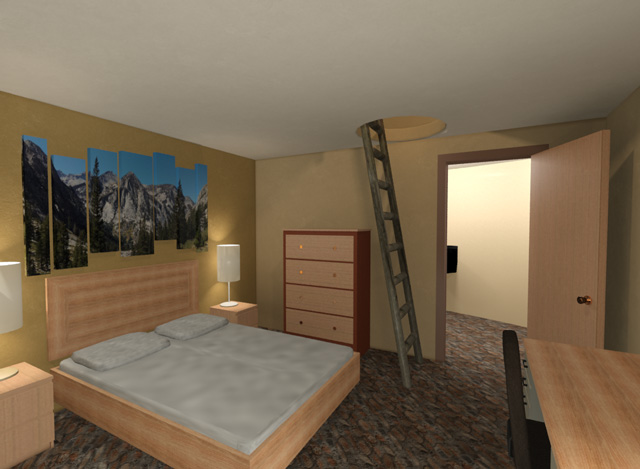 Cob Village SW Living Space Looking North Final Render, One Community