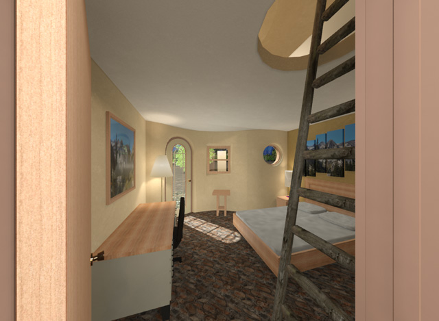 Cob Village SW Living Space Looking South Final Render, One Community