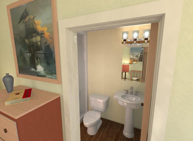 Cob Village West Wing Bathroom Dean Scholz, Final Render, One Community