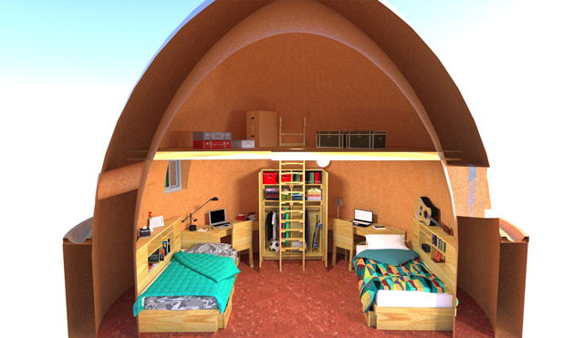 Earthbag Village Children's furniture model, blog 214, One Community