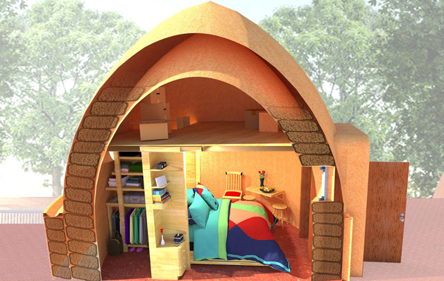 Earthbag Village Murphy Bed Section Cut, One Community