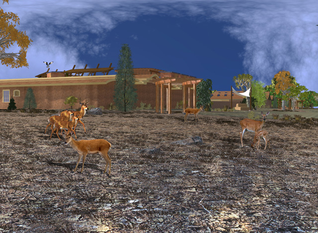 Cob Village Final Render, Back View Looking East, Guy Grossfeld, One Community