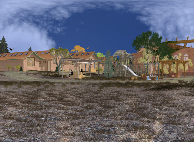 Cob Village Final Render, Center View Looking Northeast, Guy Grossfeld, One Community