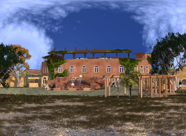 Cob Village Final Render, Front View, Guy Grossfeld, One Community