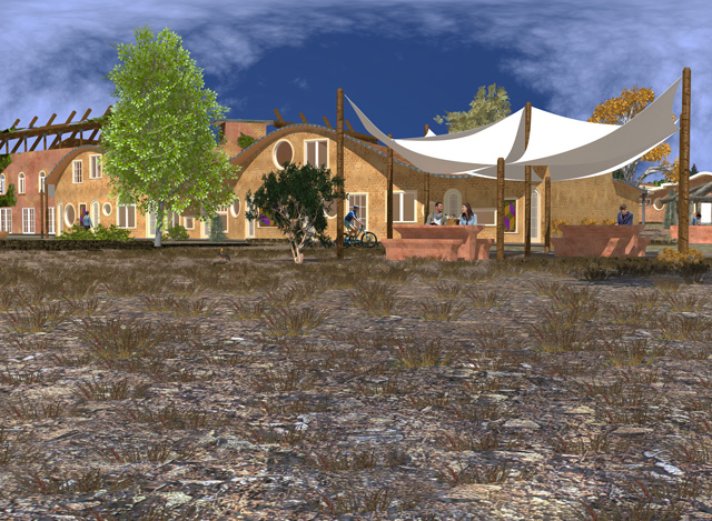 Cob Village Final Render, Front View Looking Northwest, Guy Grossfeld, One Community