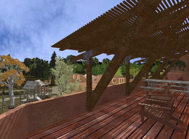 One Community Cob Village Final Render, Roof View Looking Southeast
