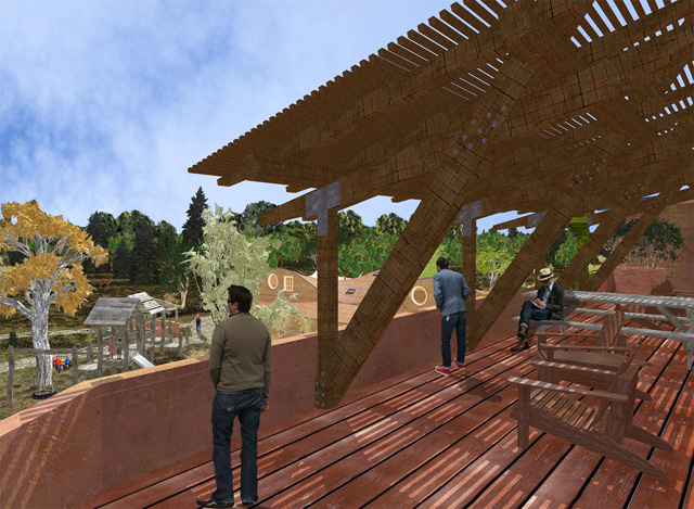 One Community Cob Village Final Render with People, Roof View Looking Southeast, Adding details to Dean's previous work, Guy Grossfeld (Graphic Designer) added people and nature elements to create these two new views of the Cob Village Roof View Looking Southeast