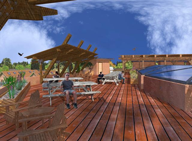 One Community Cob Village Rooftop View Looking North Final Render with People, Guy Grossfeld