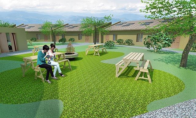 One Community straw bale village final render Outdoor Fire Pit