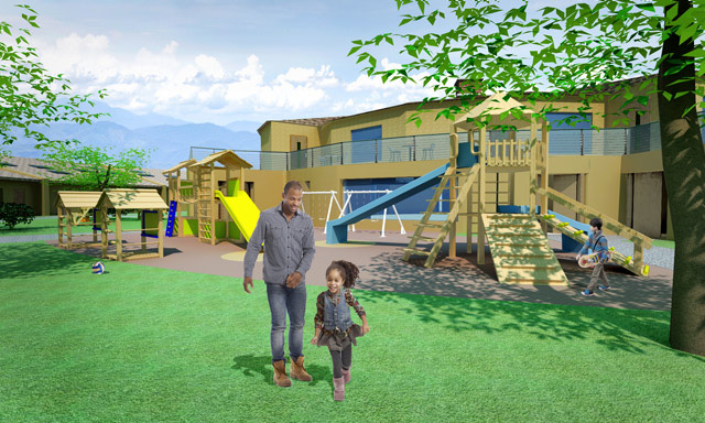 One Community Final Render, Straw Bale Village, Outdoor Play Area Looking Northeast