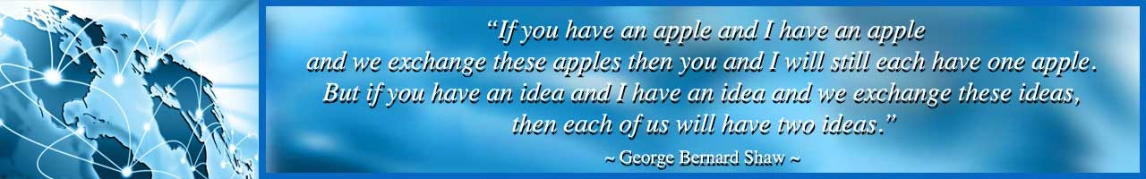 George Bernard Shaw quote, One Community, exchange apples, global transformation, making a difference, world change, non profit change, One Community, One World