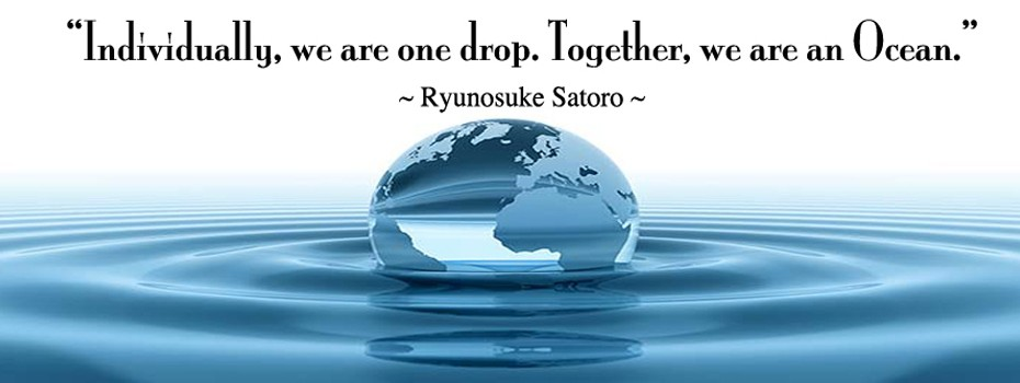One Community, together we are an ocean, Ryunosuke Satoro quote, sustainable world, creating the New Golden Age, a new golden age, sustainability nonprofit, open source blueprinting, global change, ecological living, for The Highest Good of All