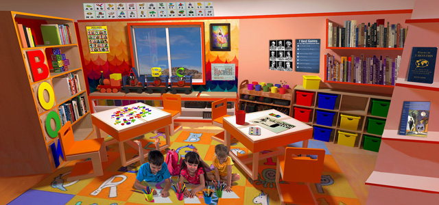 Guy Grossfeld, One Community, The Ultimate Classroom, Orange Room Final Render