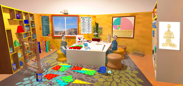 Ultimate classroom final render yellow room, math, One Community