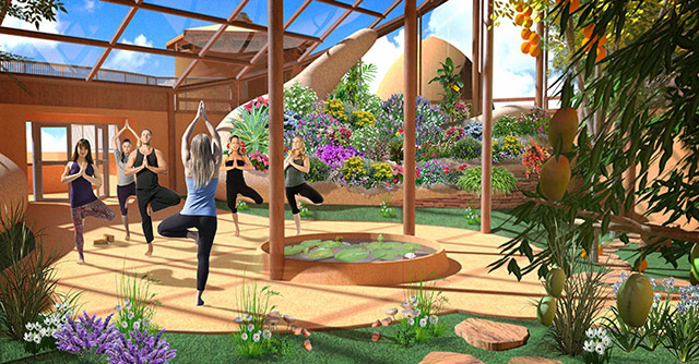 Tropical Atrium Recreation Space with Yoga Class, One Community Earthbag Village