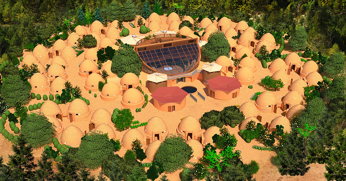 Earthbag village, earthbag construction, sustainable living, green living