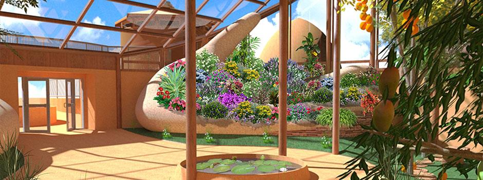 Tropical Atrium Header Image, Open Source Botanical Garden, Earthbag Village, One Community, Sustainable Community, Eco-Village, Green Living, world change, Highest Good Society, Highest Good for All, open source botanical garden, ecology, sustainability, open source architecture, open source food, Highest Good food, One Community Global