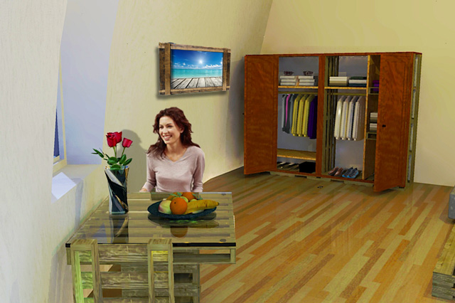 One Community Duplicable City Center Rental Room Final Render, Living Dome Rental Room Do-it-Yourself-Replicable Pallet Furniture Closet