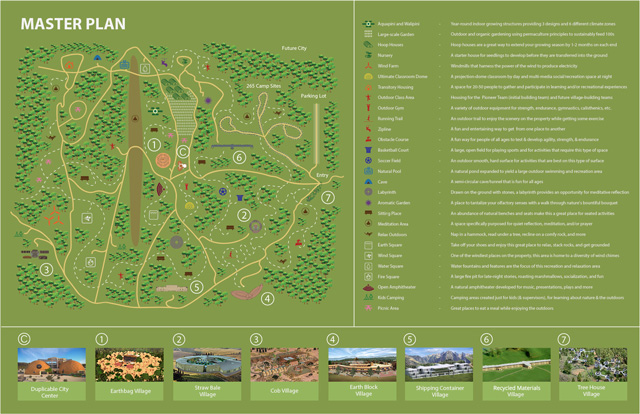One Community Master Plan, One Community Overview, One Community property, Highest Good living, eco-tourism, One Community camping, open source global change, teacher/demonstration villages, earthbag village, straw bale village, cob village, earth block village, shipping container village, tree house village