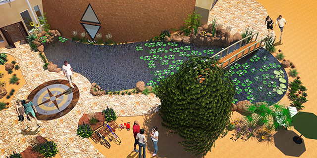 Duplicable City Center Natural Pool, Outside View Looking Down