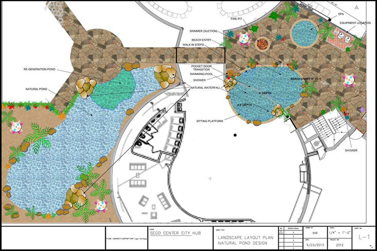Natural pool spa duplicable city center natural pool for Swimming pool plan layout