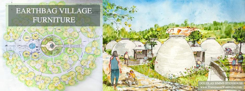 Earthbag village furniture, One Community