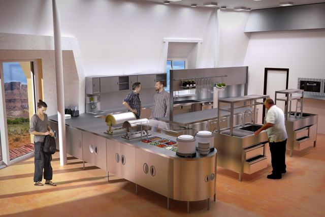 Duplicable City Center Kitchen Ecological Resource Efficient Dining For 150 People