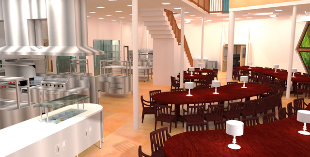 Duplicable City Center Kitchen Render, One Community