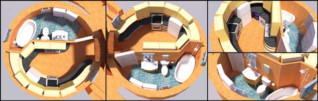Kitchen Dome, Bathroom Dome, Wet Dome, aircrete dome, earthbag dome home