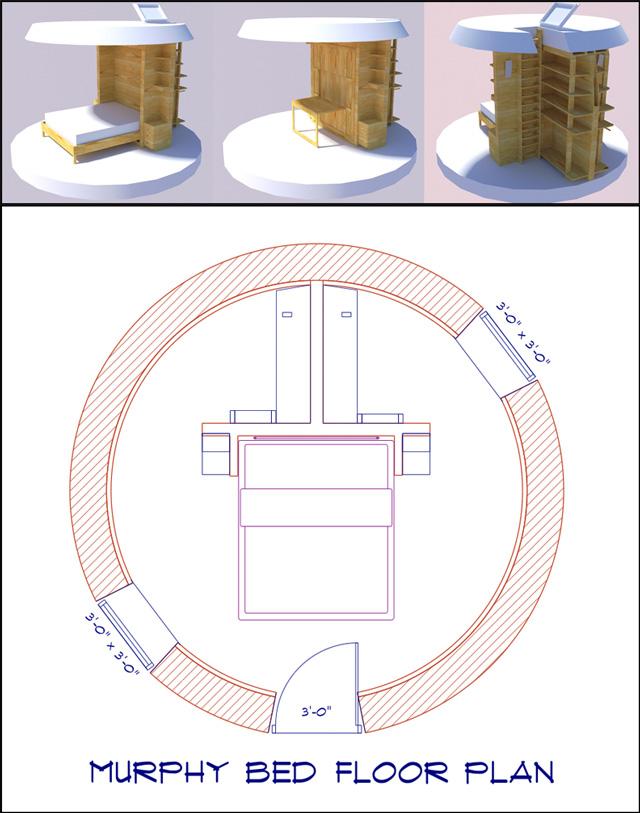Murphy Bed dome home floor plan 640