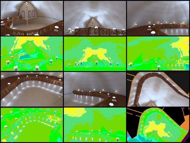Dipti Dhondarkar,(Electrical Engineer)continued with her 48th week of work on thelighting specifics for the City Center. This week's focus was combining the spotlight lighting plan with the table-top and loft-overhang plan to visualize and test all the lighting together, as shown here.