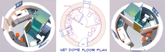 Wed dome floor plan, 150 square foot dome