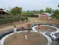 well-maintained earthbag building site