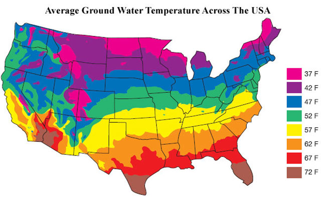 Average Ground Water Temperatures in the US