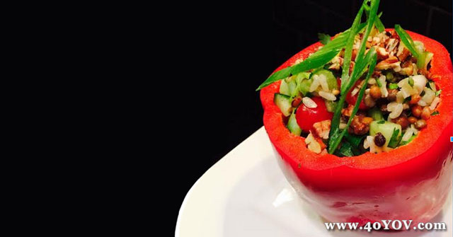 Lentil and Brown Rice Stuffed Red Pepper Salad, One Community Recipes
