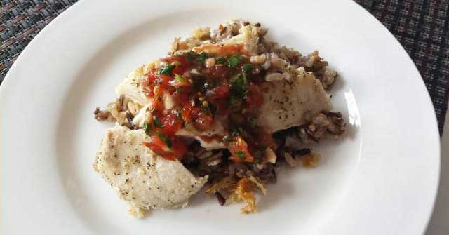 wild rice with cod and chilean pebre, One Commmunity