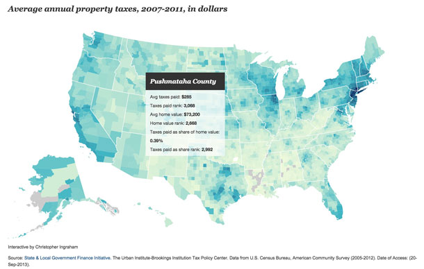 County by County Average Property Tax Comparison - Click Image for Interactive Tool