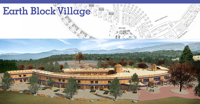 Compressed Earth Block Village Overview Image, Earth Block Construction, eco-living, green living, earth block architecture, earth brick building, earth brick construction, Earthbrick Village, Earth Brick Village