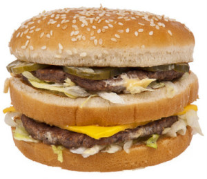 Saving energy with a Hamburger loaded with carbs and protein..