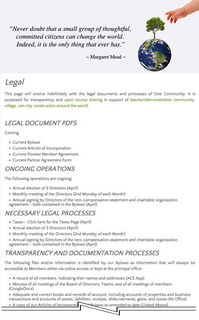 One Community Legal Documents