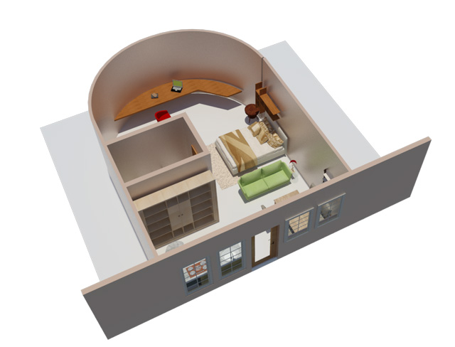 One Community Recycled Materials Village final render, Bedroom perspective
