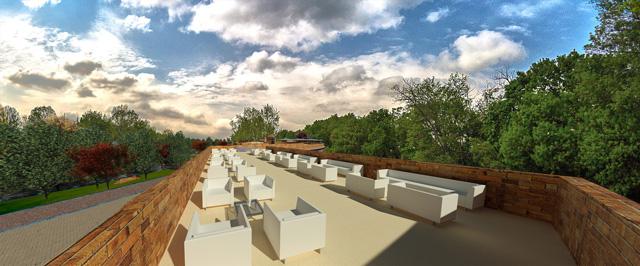 Earth Block Village, Rooftop View Looking East, One Community, Dan Alleck